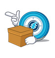 with box electroneum coin chracter cartoon vector image vector image