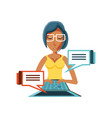 woman black with laptop and speech bubbles vector image vector image