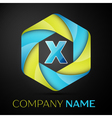 X Letter colorful logo in the hexagonal on black vector image vector image