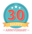 30 years anniversary emblem with ribbon stars and vector image