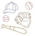 set for baseball glove cap bat game sport vector image
