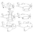A Set of Different Planes Contour vector image