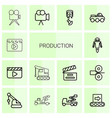 14 production icons vector image vector image