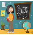 back to school schoolgirl and school supplies vector image vector image