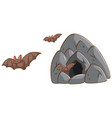 bats flying out of the cave on white background vector image vector image