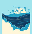 big ocean waves and tropical island with palms vector image vector image