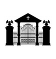black silhouette gothic cemetery gate vector image