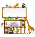 border template design with cute animals vector image vector image
