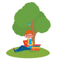 Boy reading a book sitting under a tree vector image