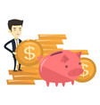 business man putting coin in piggy bank vector image vector image