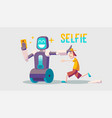 cartoon about a guy and selfie robot vector image