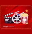 cinema movie and popcorn bowl film bobbin vector image