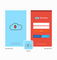 company downloading splash screen and login page vector image vector image