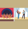 concert female dancers and male musicians set vector image