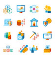 crypto democracy icons set vector image vector image