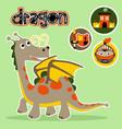 dragon with kingdom elements icon cartoon vector image