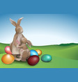 easter background with two brown bunnies vector image
