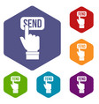 email communication concept icons set hexagon vector image vector image