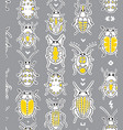 embroidery bugs seamless pattern on gray vector image
