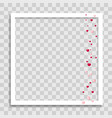 empty blank photo frame with hearts template vector image
