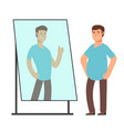 fat man looking on strong and thin person vector image