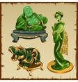 Figures from malachite Buddha geisha and animal vector image vector image