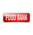 food bank red square 3d realistic isolated web vector image vector image