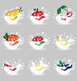 fruit in milk on grey background vector image