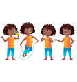 girl schoolgirl kid poses set black afro vector image vector image