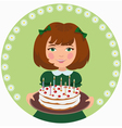 girl with sweet cake vector image