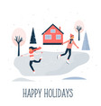greeting card with pretty skating girl and boy vector image vector image