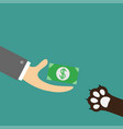 hand giving paper money cash with dollar sign dog vector image vector image