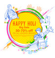 happy holi advertisement promotional background vector image vector image