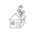line house with power cable with leaves to reduce vector image vector image