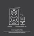live mic microphone record sound icon line symbol vector image