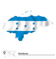 Map of Honduras with flag vector image vector image