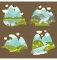 Mountain landscape icons set vector image vector image