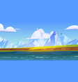 ocean or sea view with mountains and gulls in sky vector image vector image