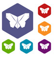 origami butterfly icons hexahedron vector image vector image
