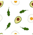 pattern with avocado and arugula vector image vector image