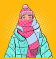 pop art portrait woman in warm winter clothes vector image