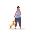pregnant woman with dog vector image vector image