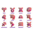purple astrology signs 12 zodiac symbols vector image