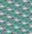 raccoons and birds pattern vector image vector image