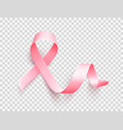 realistic pink ribbon symbol of breast cancer vector image vector image
