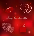 Red Valentine card with motifs vector image vector image