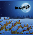 santa riding his reindeer sleigh flying in the sky vector image vector image
