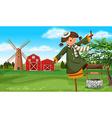 Scarecrow in the farm field vector image vector image