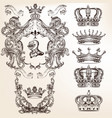 set of crowns and detailed shields vector image