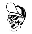 skull in baseball cap and sun glasses design vector image vector image